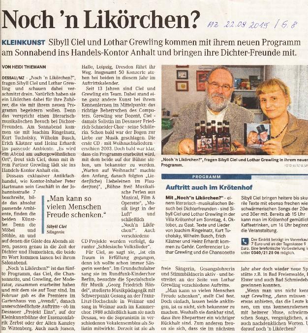 """MZ vom 22.09.2015 zum Programm """"Noch'n Likörchen ?"""" im Handels-Kontor Anhalt"""
