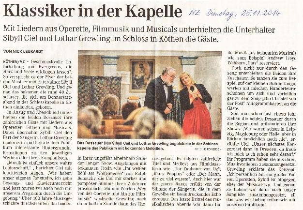 Auftritt in der Schloßkapelle Köthen - Bühnenshows und Auftritte