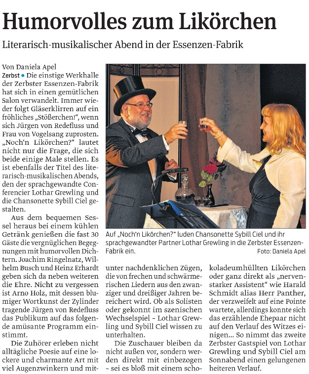 Pressemeldung zu einem Auftritt in der Zerbster Essenzenfabrik - Bühnenshows und Auftritte